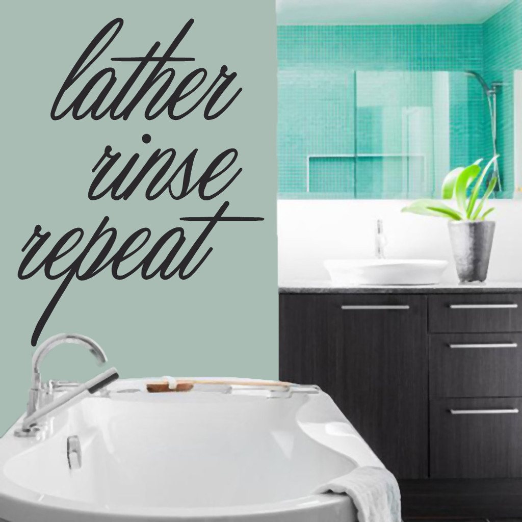 """Lather Rinse Repeat Wall Decals 36"""" wide x 48"""" tall Sample Image"""