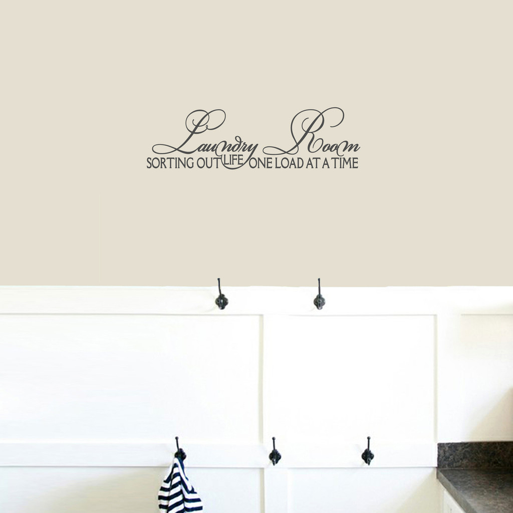 "Laundry Room Sorting Out Life Wall Decals 24"" wide x 7"" tall Sample Image"