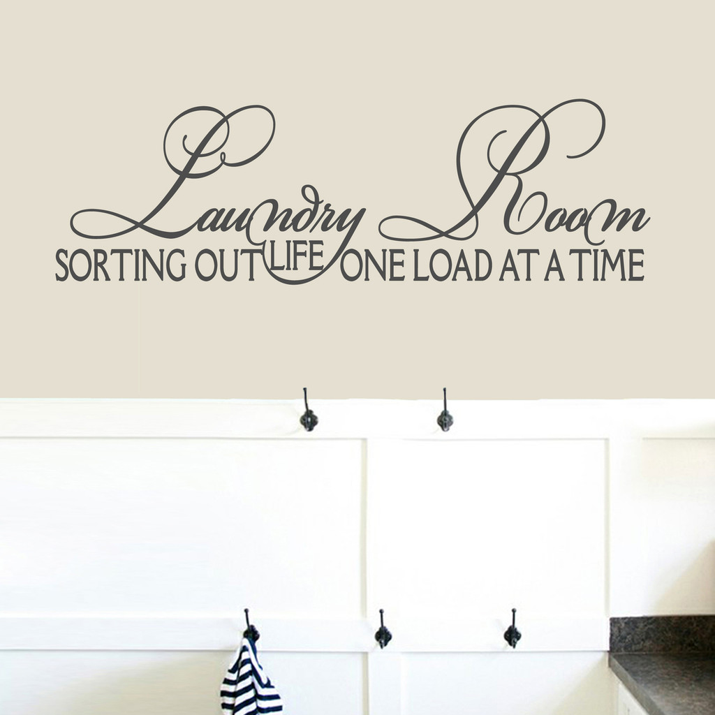 "Laundry Room Sorting Out Life Wall Decals 48"" wide x 15"" tall Sample Image"
