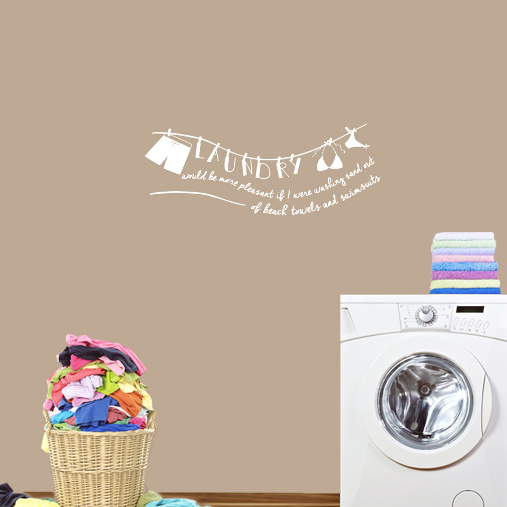 "Laundry Sand Out Of Swimsuits Wall Decals 36"" wide x 14"" tall Sample Image"