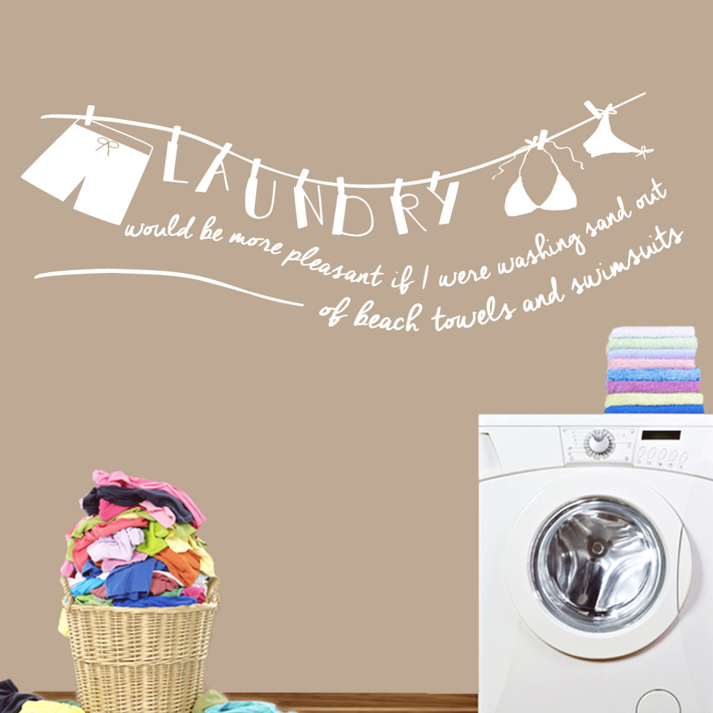 "Laundry Sand Out Of Swimsuits Wall Decals 72"" wide x 26"" tall Sample Image"