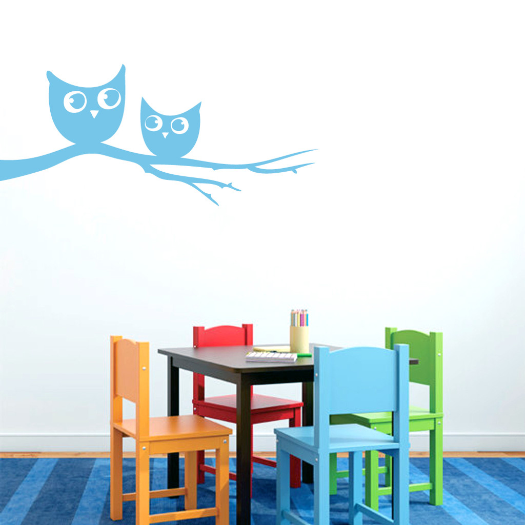 "Owls On Branch Wall Decals 36"" wide x 16"" tall Sample Image"