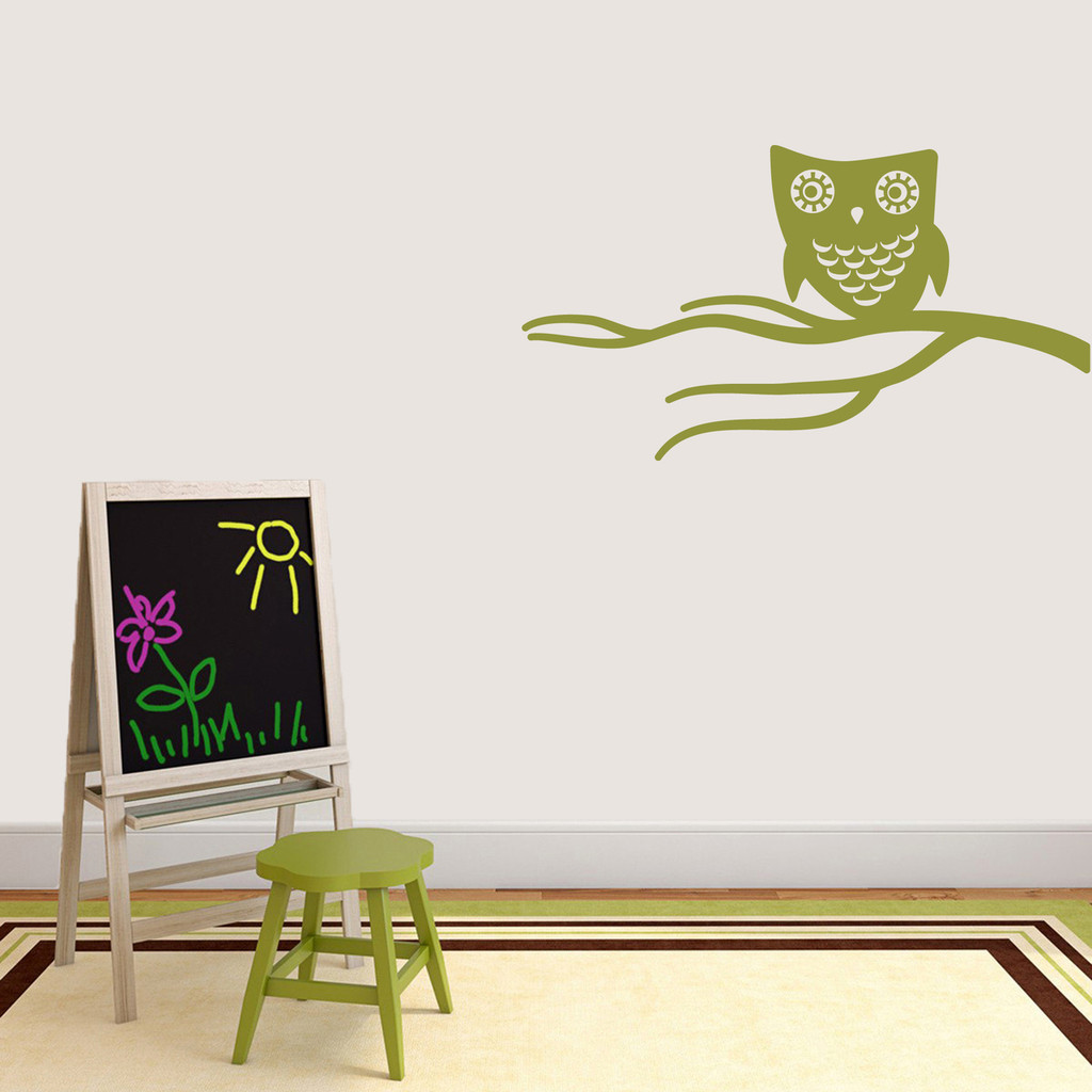 """Cute Owl On Branch Wall Decal 36"""" wide x 20"""" tall Sample Image"""