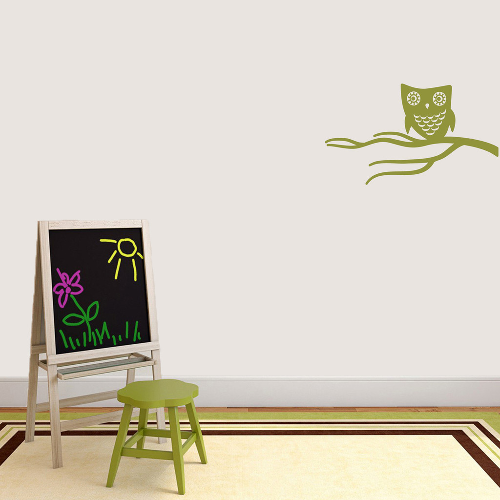 """Cute Owl On Branch Wall Decal 24"""" wide x 14"""" tall Sample Image"""