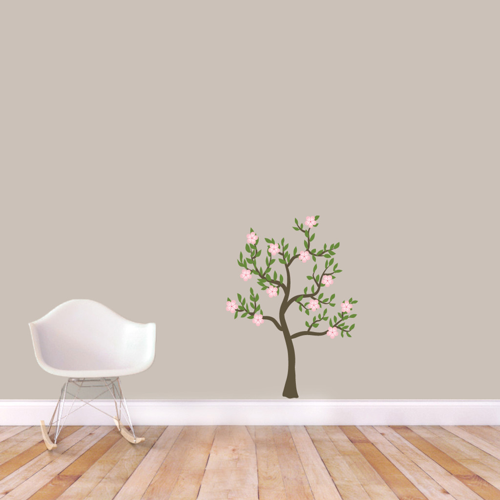 """Pink Flower Tree Printed Wall Decals 26"""" wide x 36"""" tall Sample Image"""