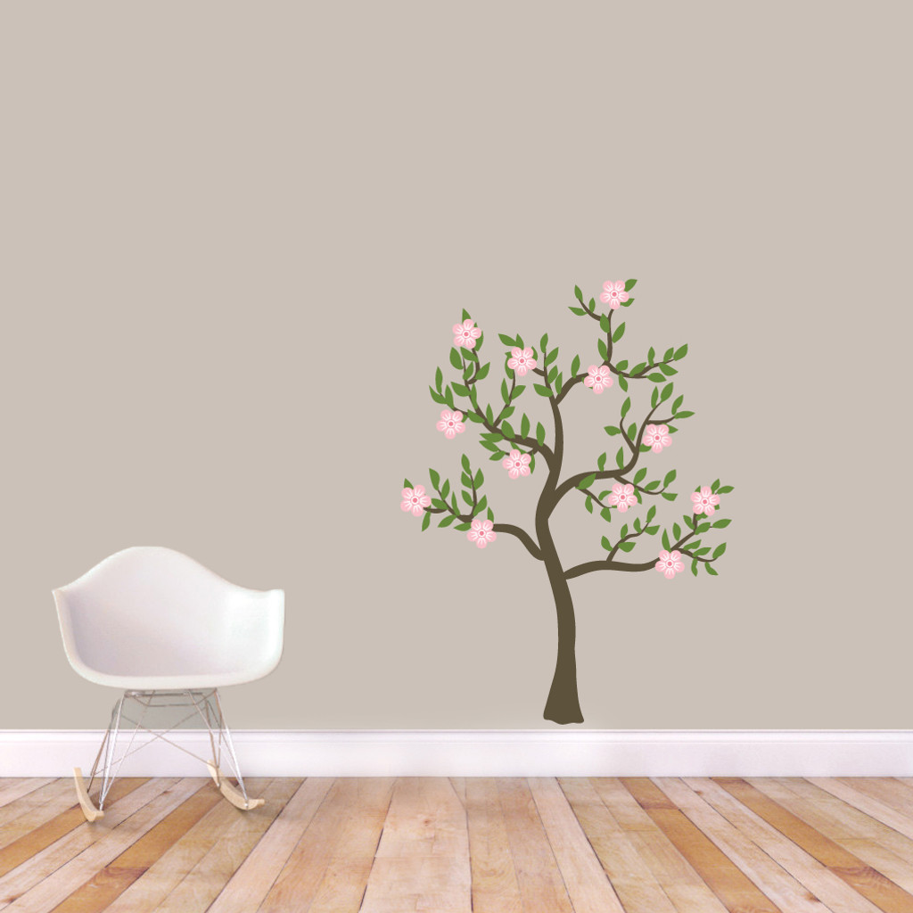"""Pink Flower Tree Printed Wall Decals 36"""" wide x 48"""" tall Sample Image"""
