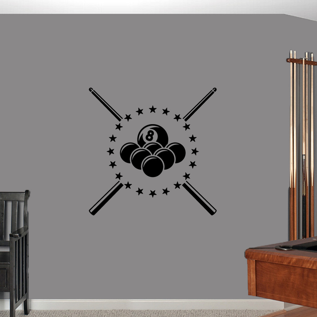 """Pool Billiards Wall Decals 30"""" wide x 30"""" tall Sample Image"""