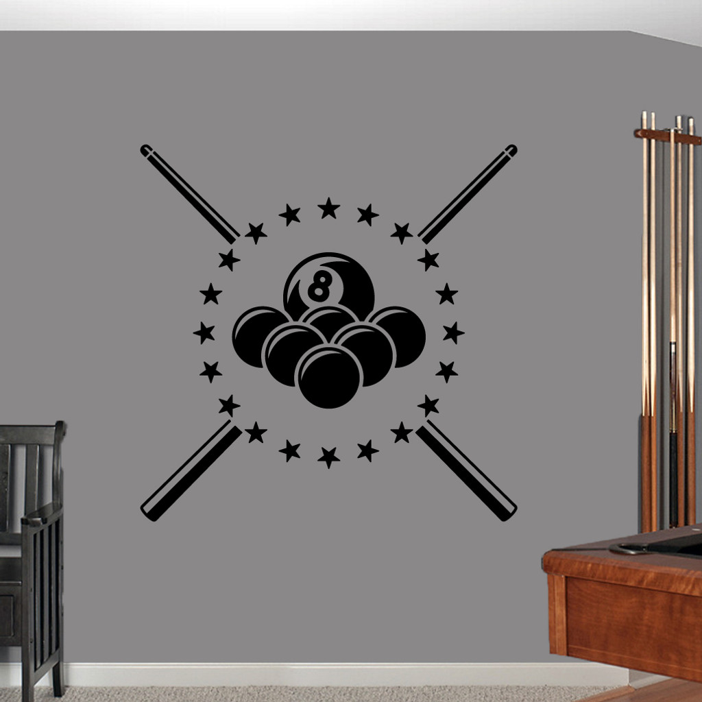 """Pool Billiards Wall Decals 40"""" wide x 40"""" tall Sample Image"""