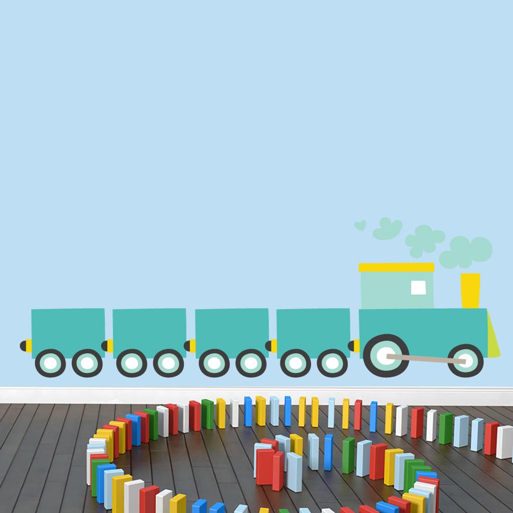 """Choo Choo Train Printed Wall Decals 72"""" wide x 24"""" tall Sample Image"""