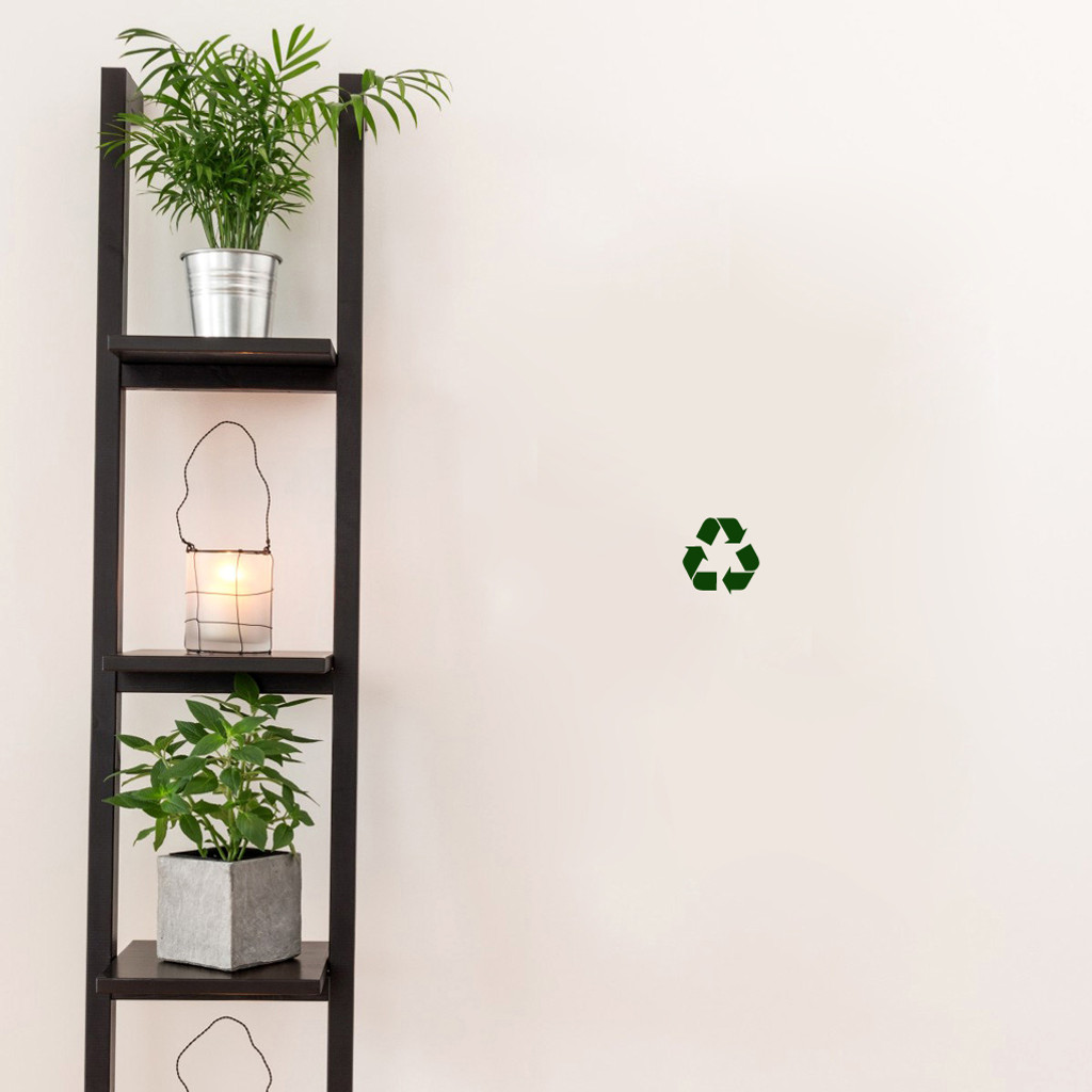 "Recycle Symbol Decal Wall 3"" wide x 3"" tall Sample Image"