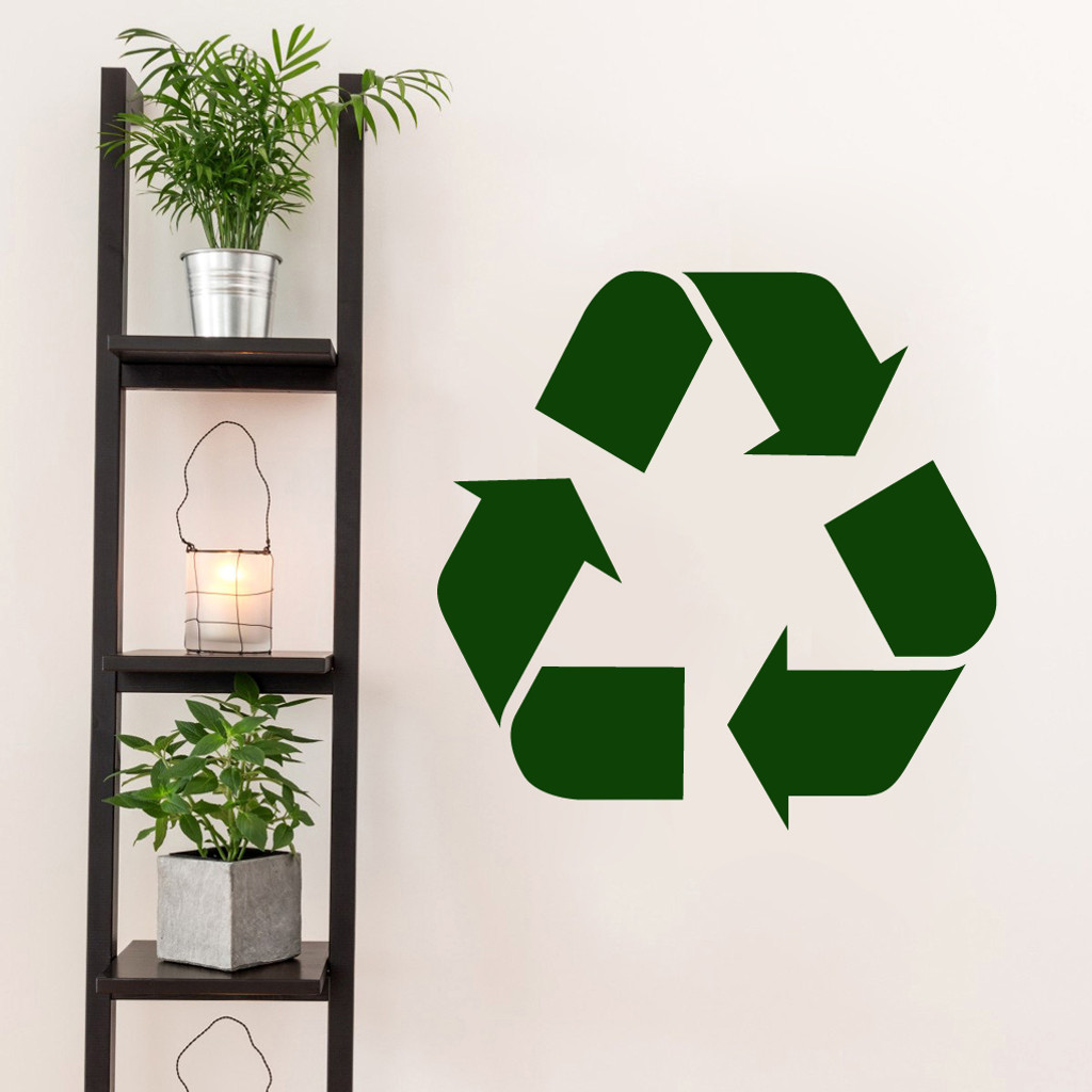 "Recycle Symbol Decal Wall 22"" wide x 22"" tall Sample Image"