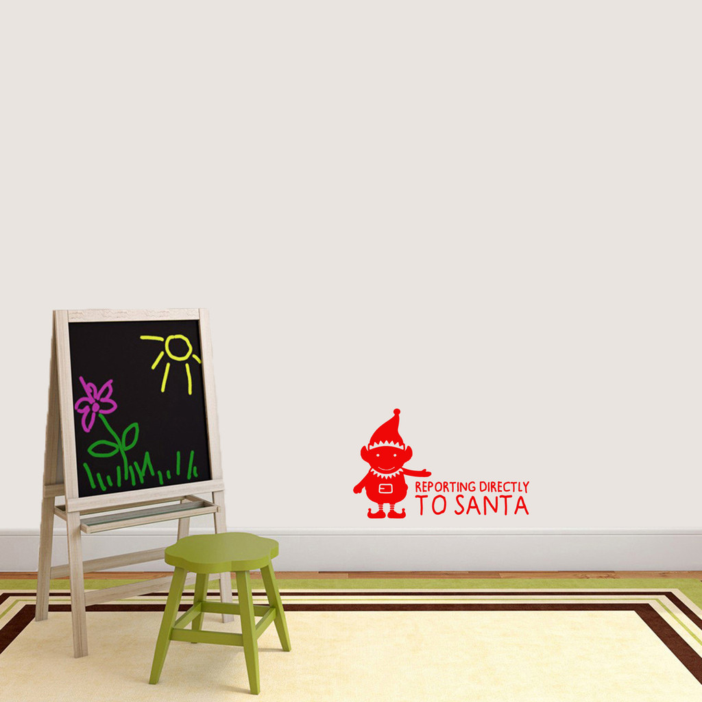"""Elf Reporting Directly to Santa Wall Decal 24"""" wide x 15"""" tall Sample Image"""