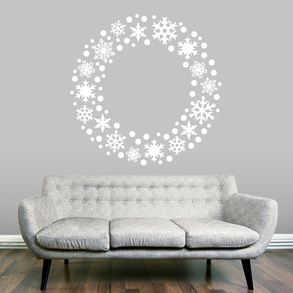 "Snowflake Wreath Wall Decal 48"" wide x 48"" tall Sample Image"