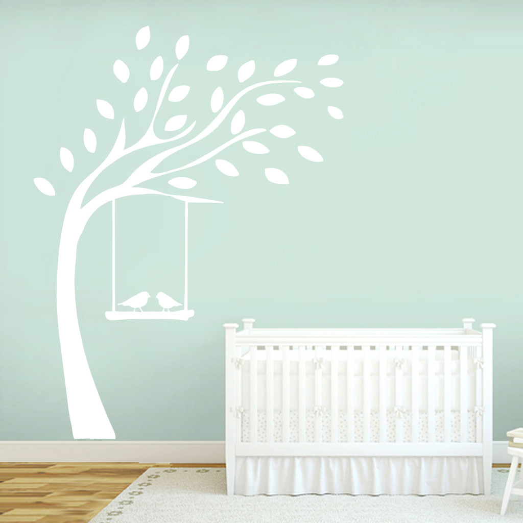Tree With Birds On Swing Wall Decals and Stickers