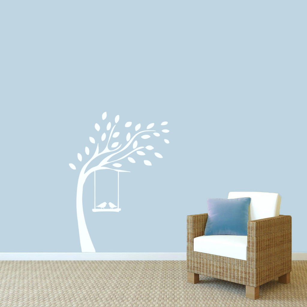 """Tree With Birds On Swing Wall Decals 36"""" wide x 48"""" tall Sample Image"""