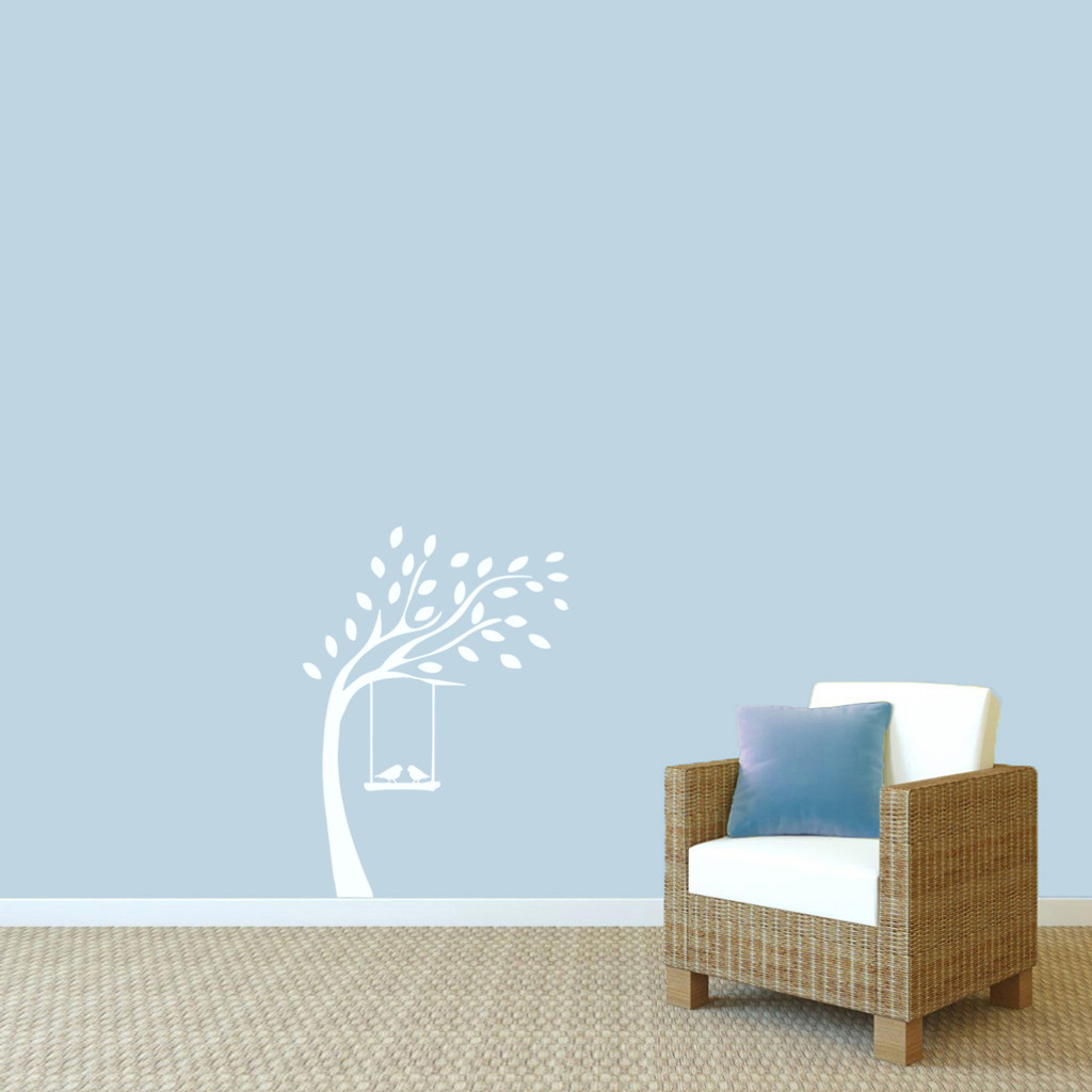 """Tree With Birds On Swing Wall Decals 27"""" wide x 36"""" tall Sample Image"""