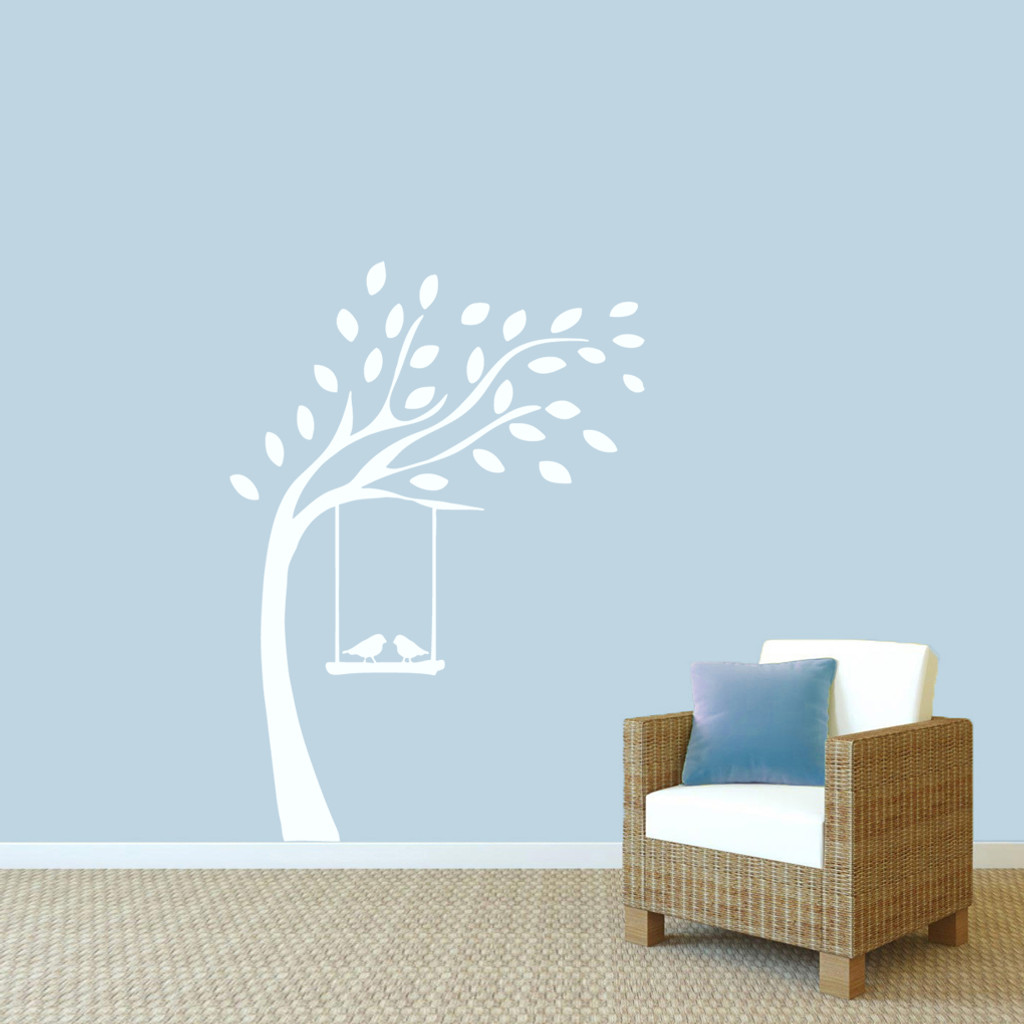 """Tree With Birds On Swing Wall Decals 44"""" wide x 60"""" tall Sample Image"""