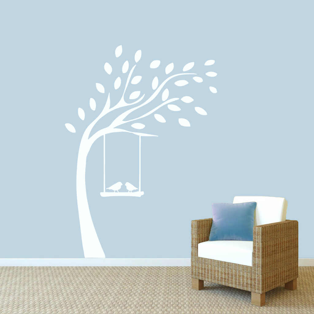 """Tree With Birds On Swing Wall Decals 52"""" wide x 72"""" tall Sample Image"""