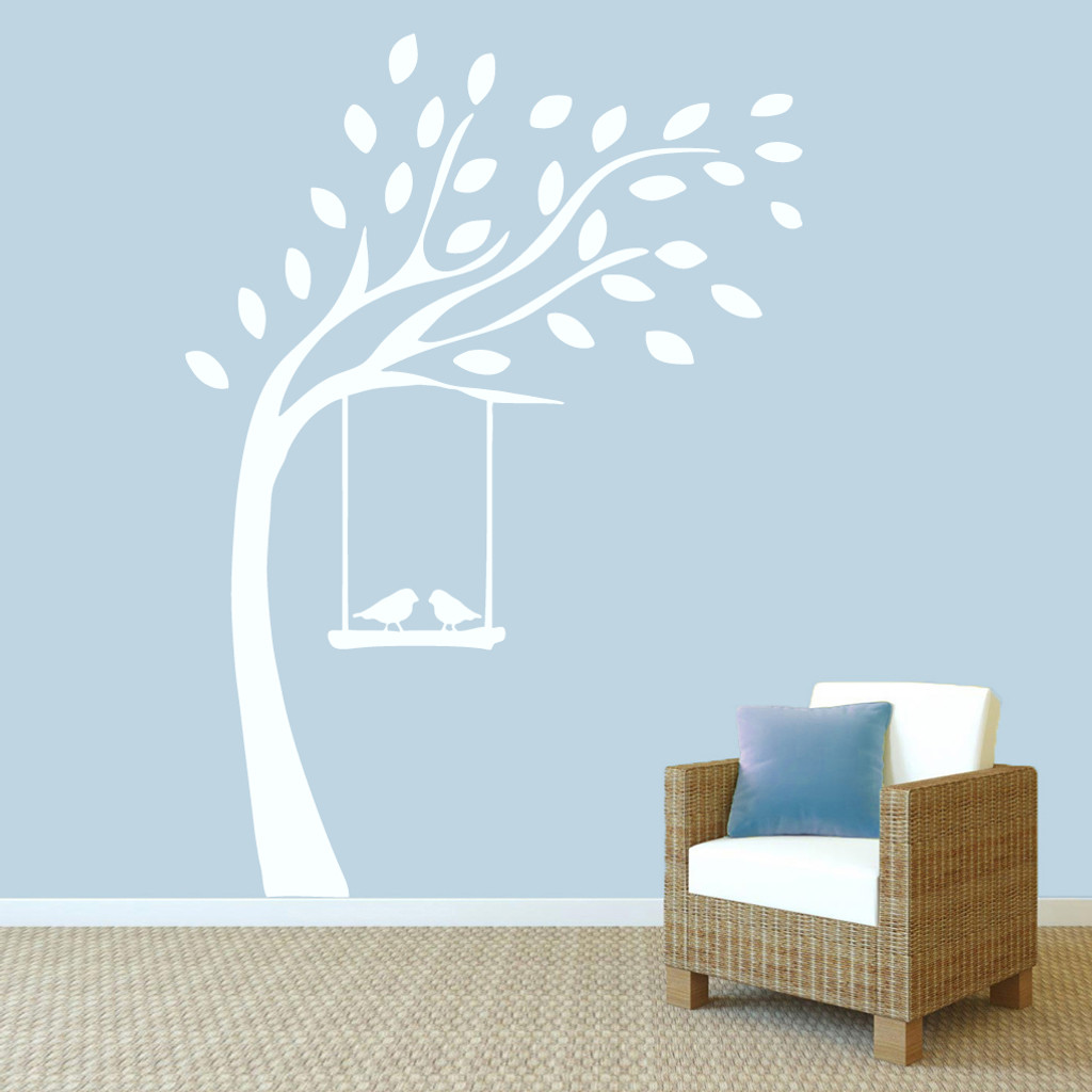 """Tree With Birds On Swing Wall Decals 60"""" wide x 84"""" tall Sample Image"""