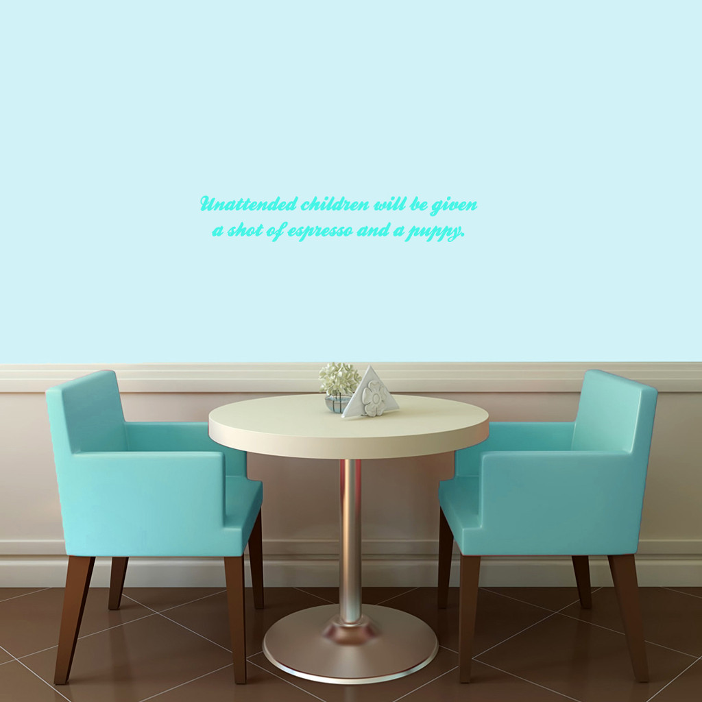 """Unattended Children Wall Decals 24"""" wide x 4"""" tall Sample Image"""