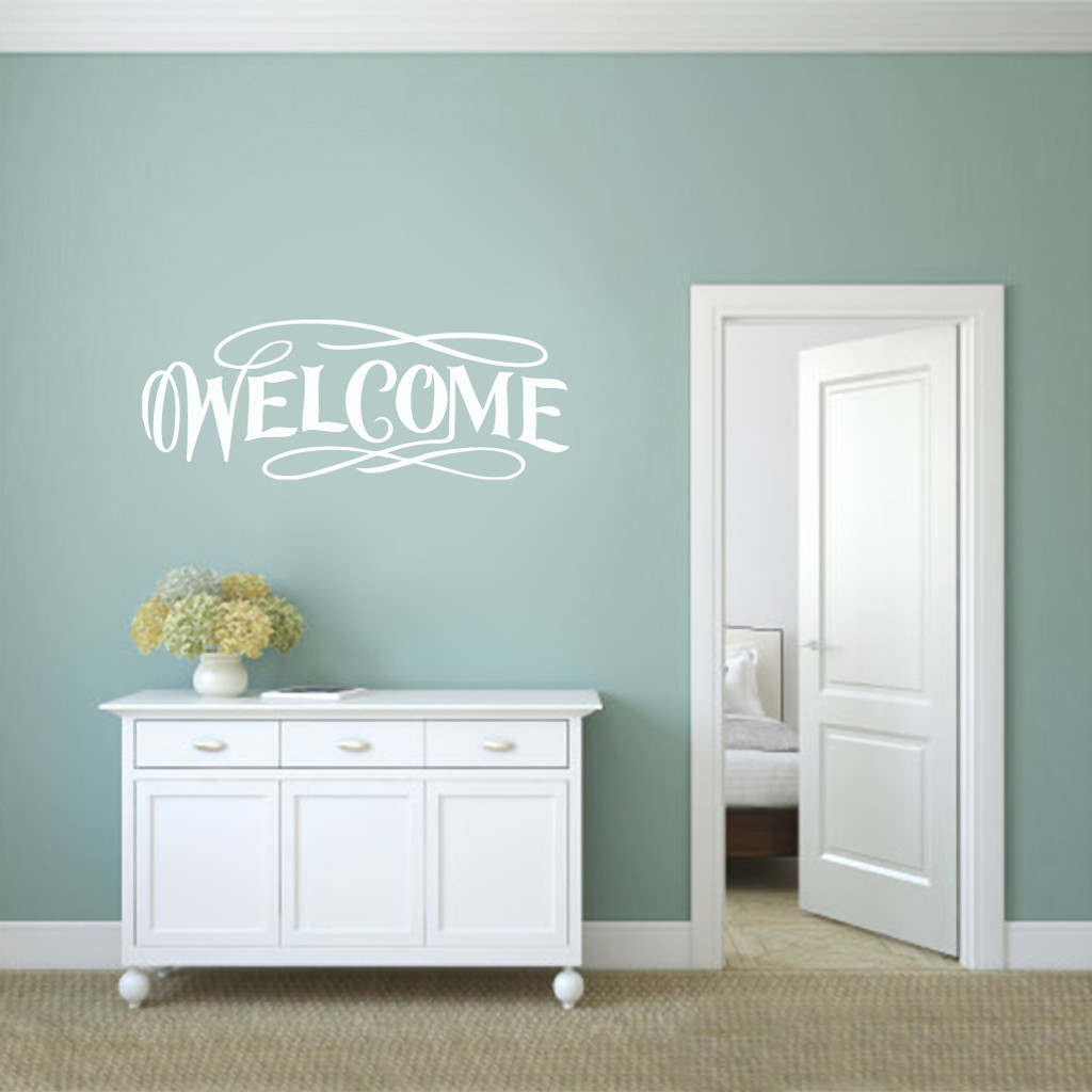 "Fancy Welcome Wall Decals 48"" wide x 18"" tall Sample Image"