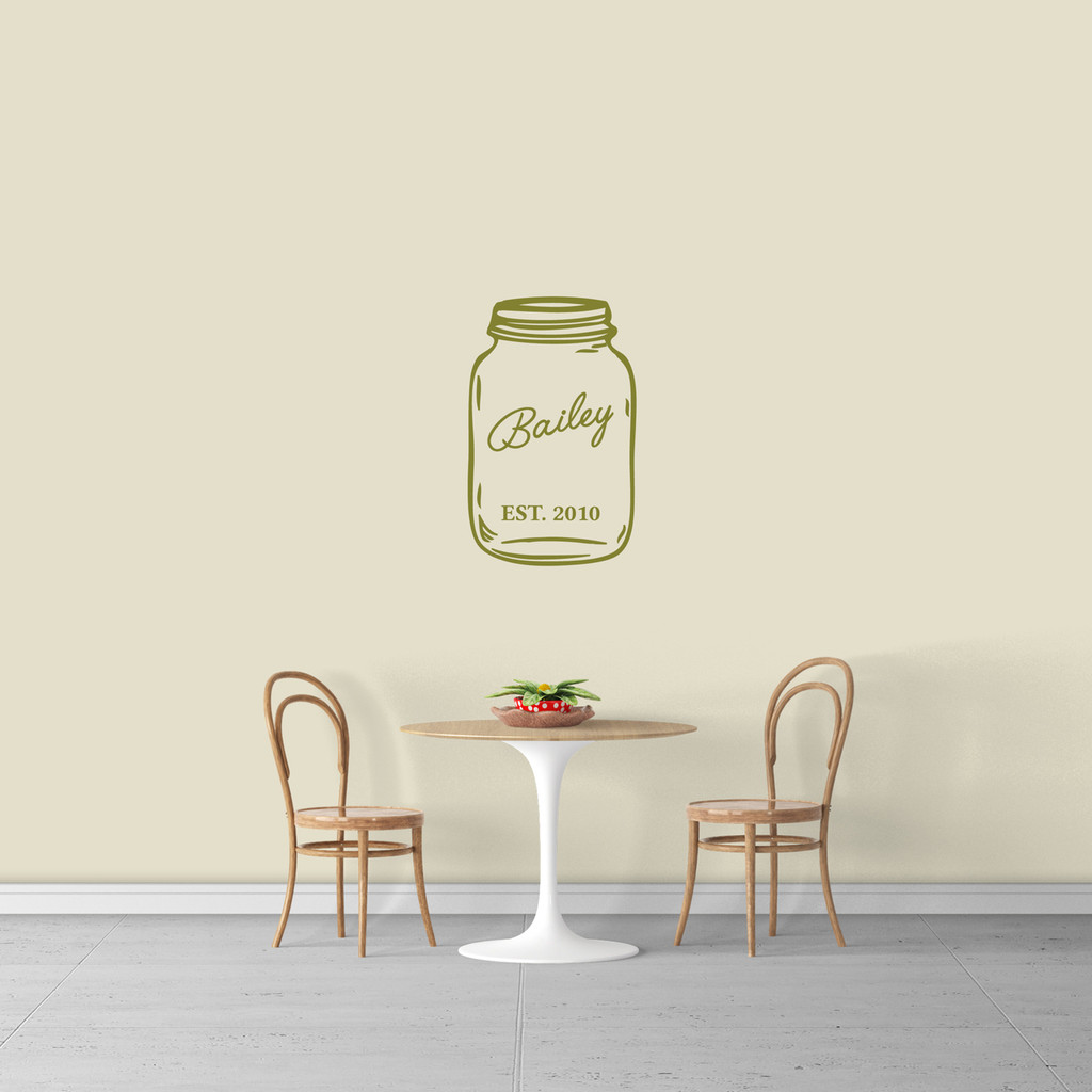 "Custom Name Mason Jar Wall Decal 15"" wide x 24"" tall Sample Image"