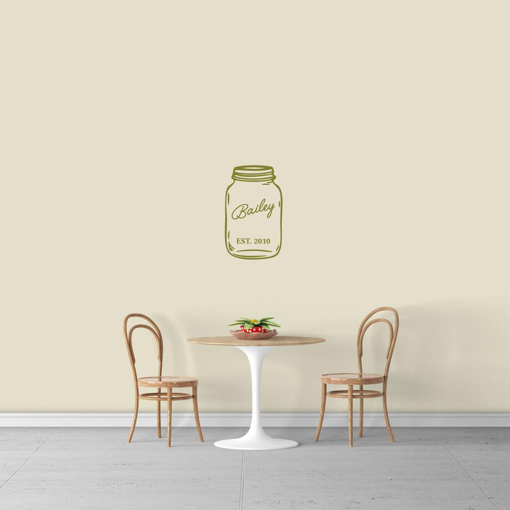 "Custom Name Mason Jar Wall Decal 11"" wide x 18"" tall Sample Image"