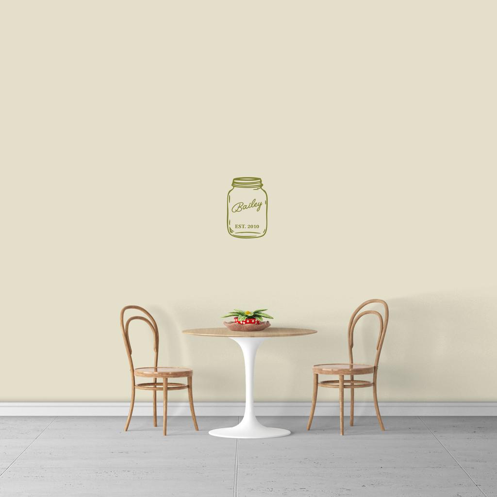 "Custom Name Mason Jar Wall Decal 8"" wide x 12"" tall Sample Image"