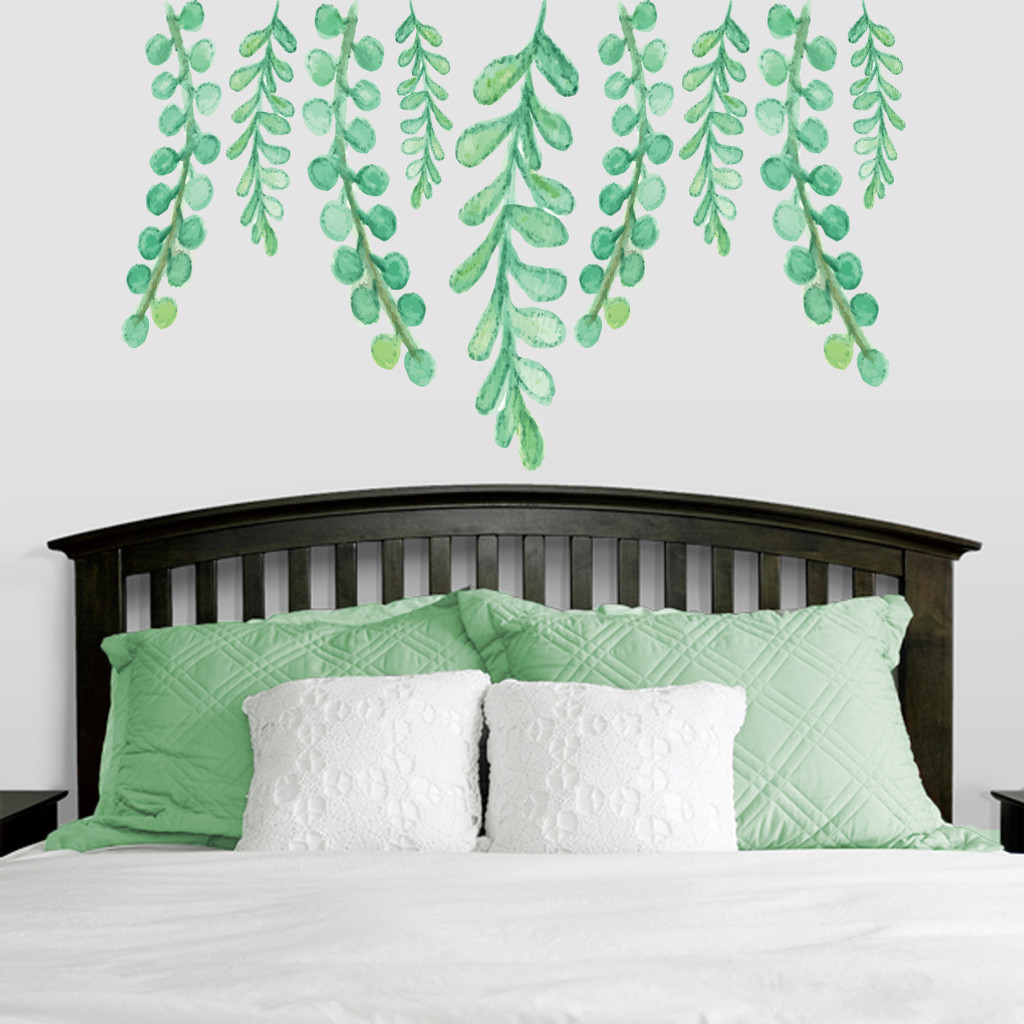 "Hanging Eucalyptus Printed Wall Decals 60"" wide x 36"" tall Sample Image"