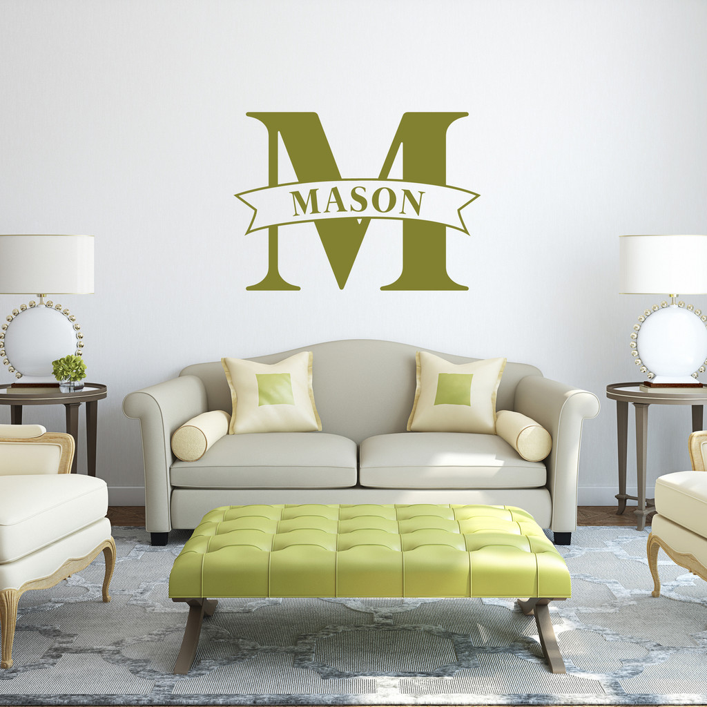 """Custom Name Banner And Monogram Wall Decal 36"""" wide x 26"""" tall Sample Image"""