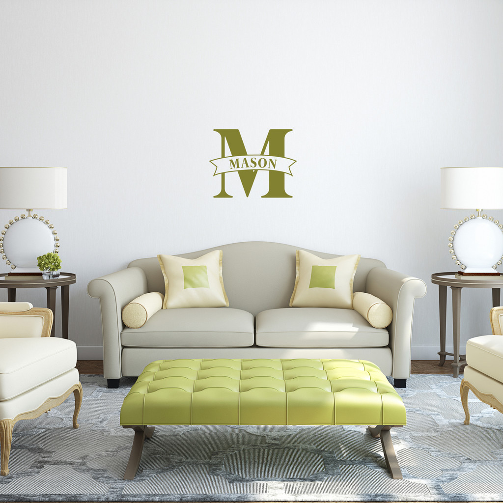 """Custom Name Banner And Monogram Wall Decal 18"""" wide x 14"""" tall Sample Image"""