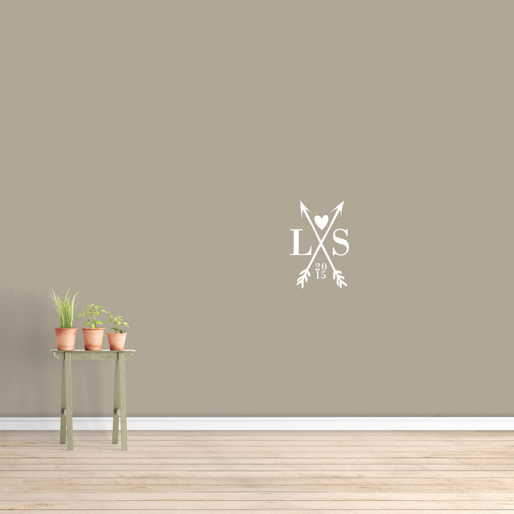 """Custom Crossed Arrows With Initials Wall Decal  12"""" wide x 18"""" tall Sample Image"""