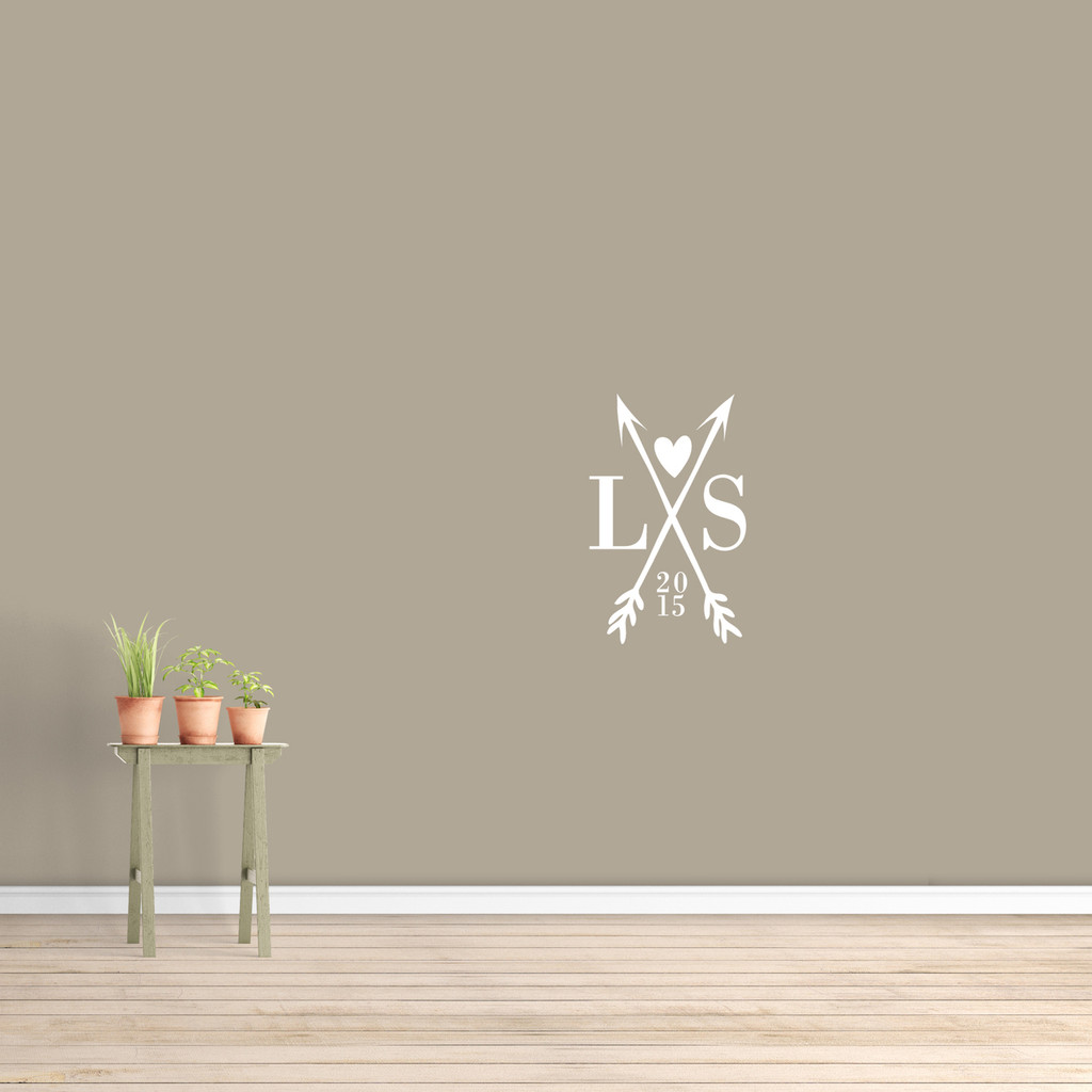 """Custom Crossed Arrows With Initials Wall Decal  15"""" wide x 24"""" tall Sample Image"""