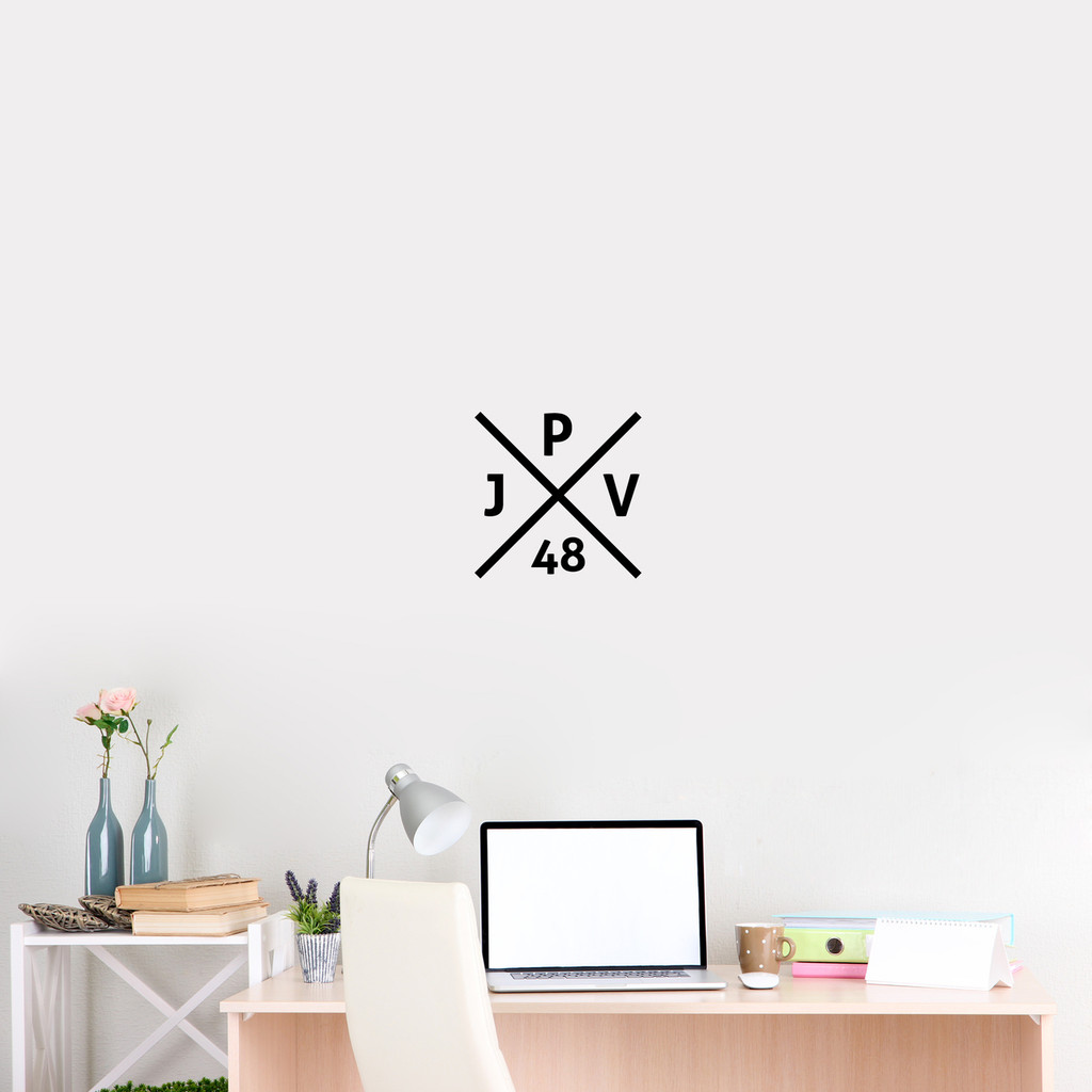 "Custom Crossed X Monogram Wall Decal 12"" wide x 12"" tall Sample Image"