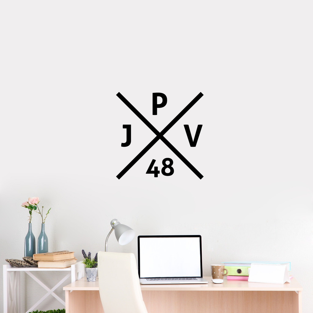 "Custom Crossed X Monogram Wall Decal 22"" wide x 22"" tall Sample Image"
