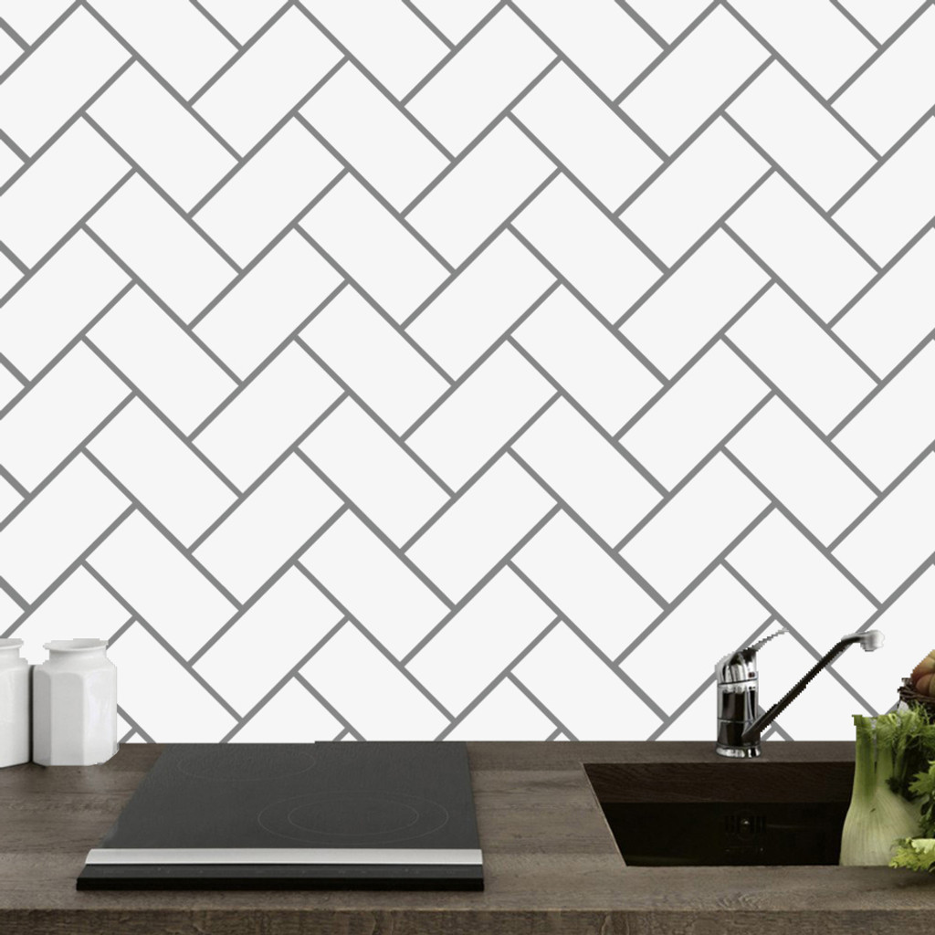 Herringbone Tile Backsplash Wall Decals Wall Decor Stickers