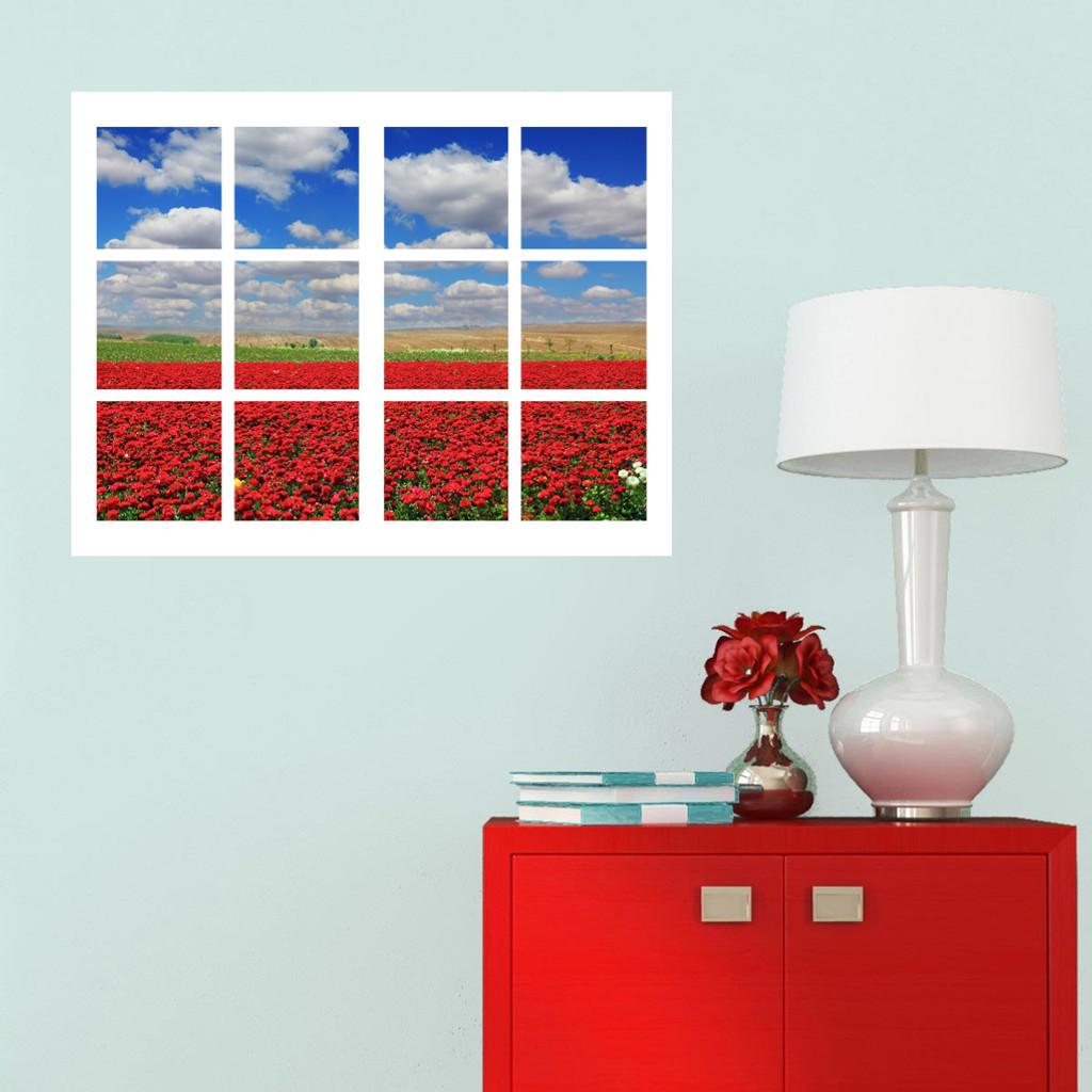 Red Poppy Filed Scene With Frame