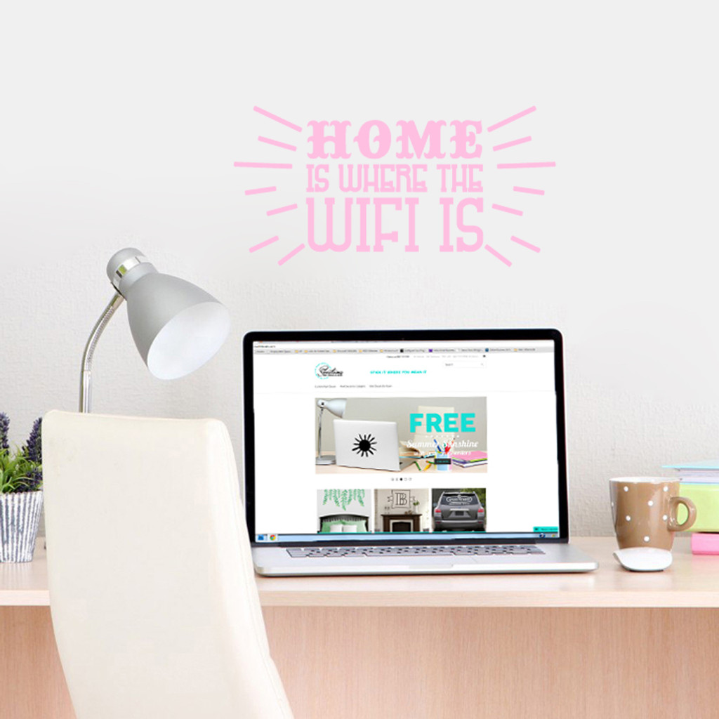 """Home Is Where The Wifi Is Wall Decals 18"""" wide x 9"""" tall Sample Image"""