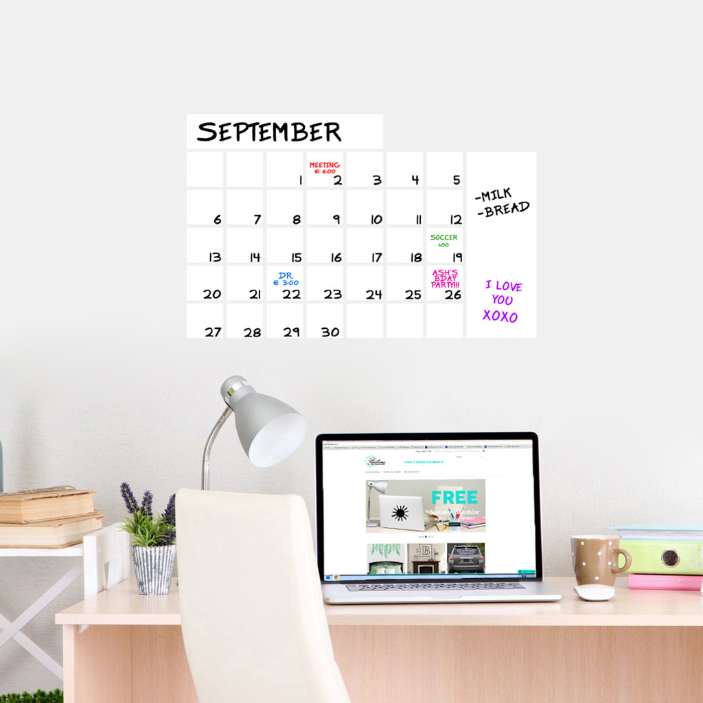 """Dry Erase Calendar Wide Wall Decals 24"""" wide  x 16"""" tall Sample Image"""