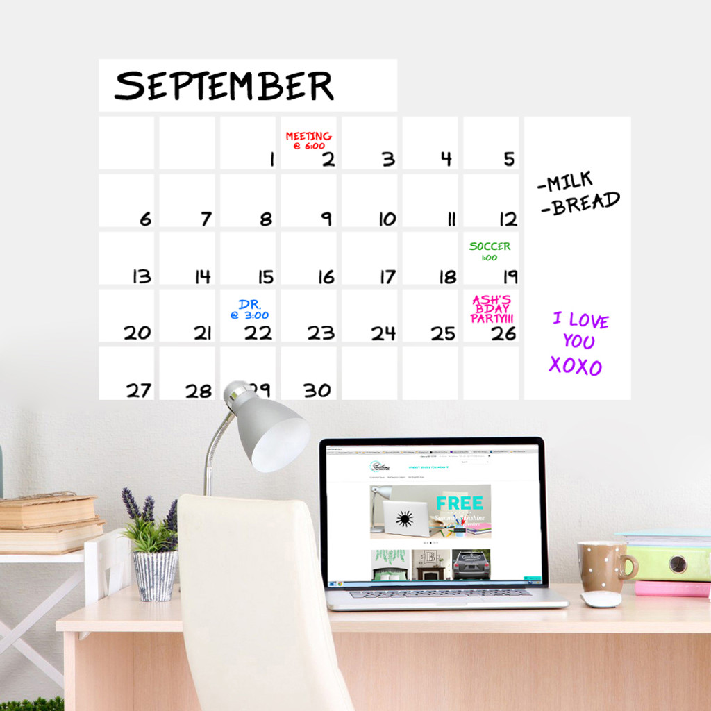 """Dry Erase Calendar Wide Wall Decals 36"""" wide  x 23"""" tall Sample Image"""