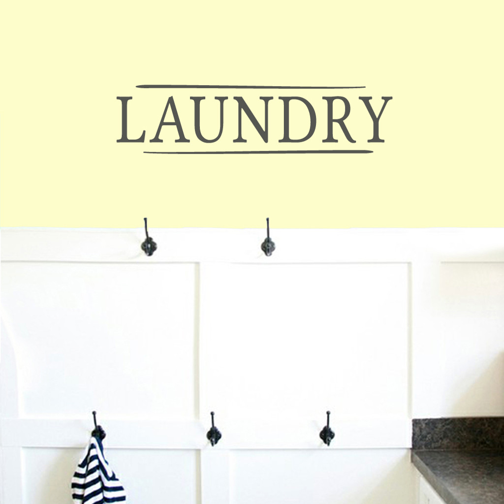 "Laundry Wall Decals 24"" wide x 6"" tall Sample Size"