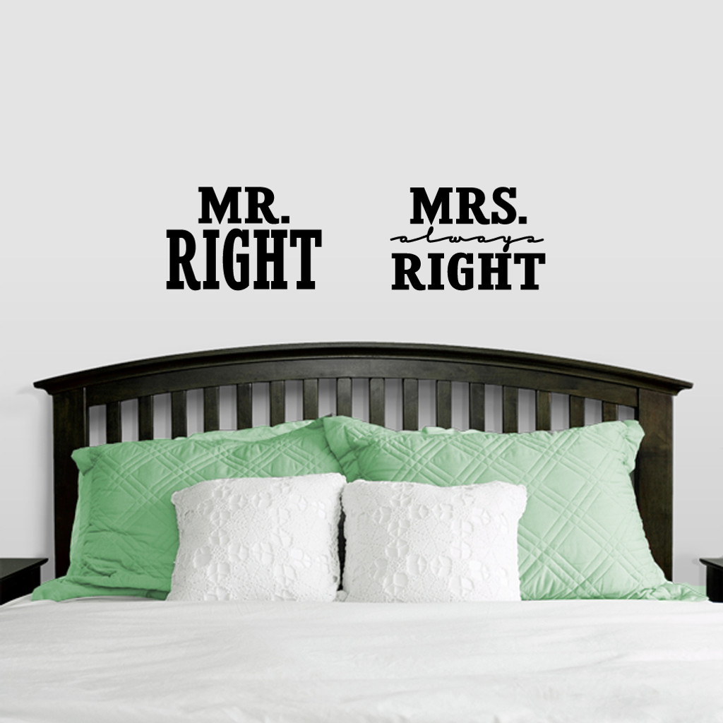 Mr. Right & Mrs. Always Right Wall Decals Medium Sample Image