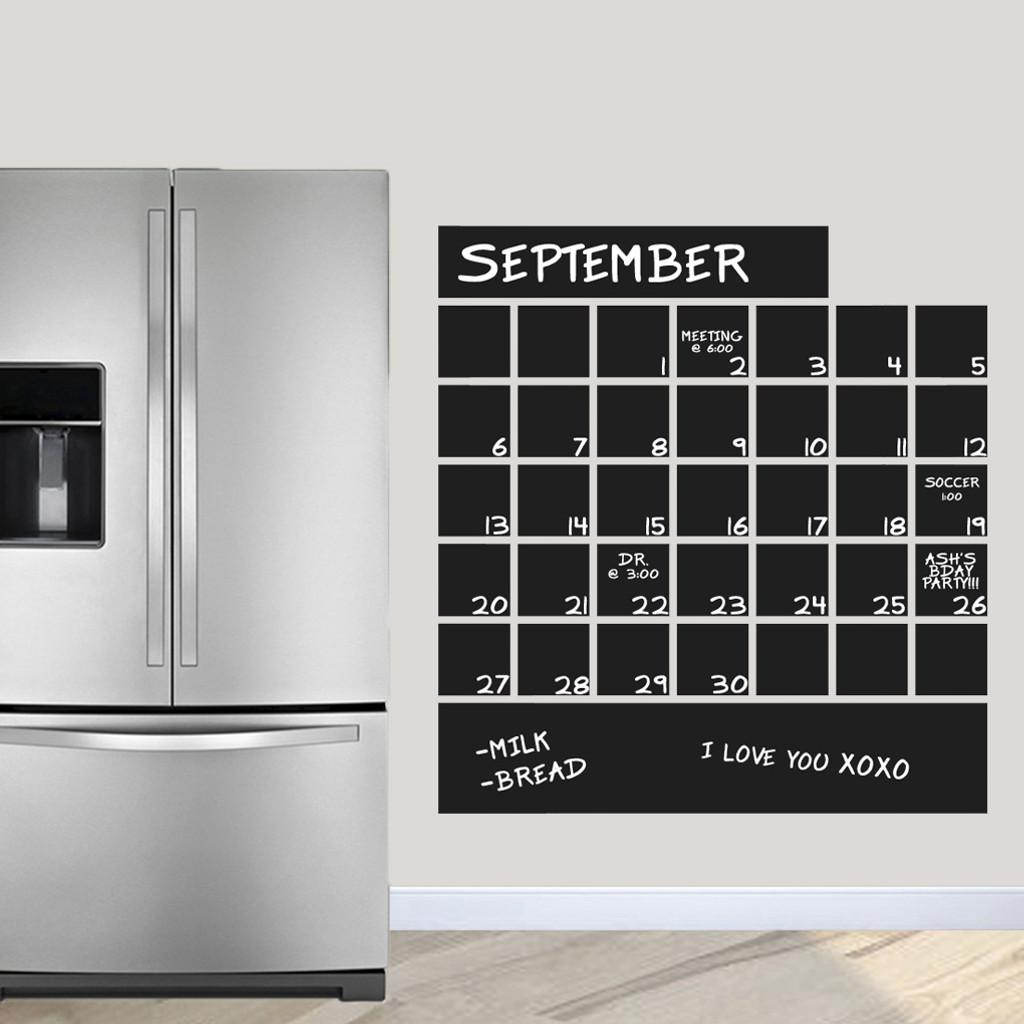 "Chalkboard Calendar Wall Decals 36"" wide x 38.5"" tall Sample Image"