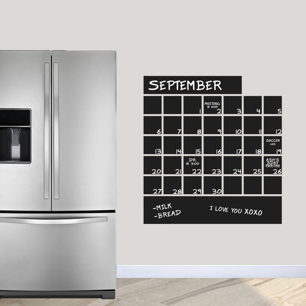 "Chalkboard Calendar Wall Decals 30"" wide x 32"" tall Sample Image"