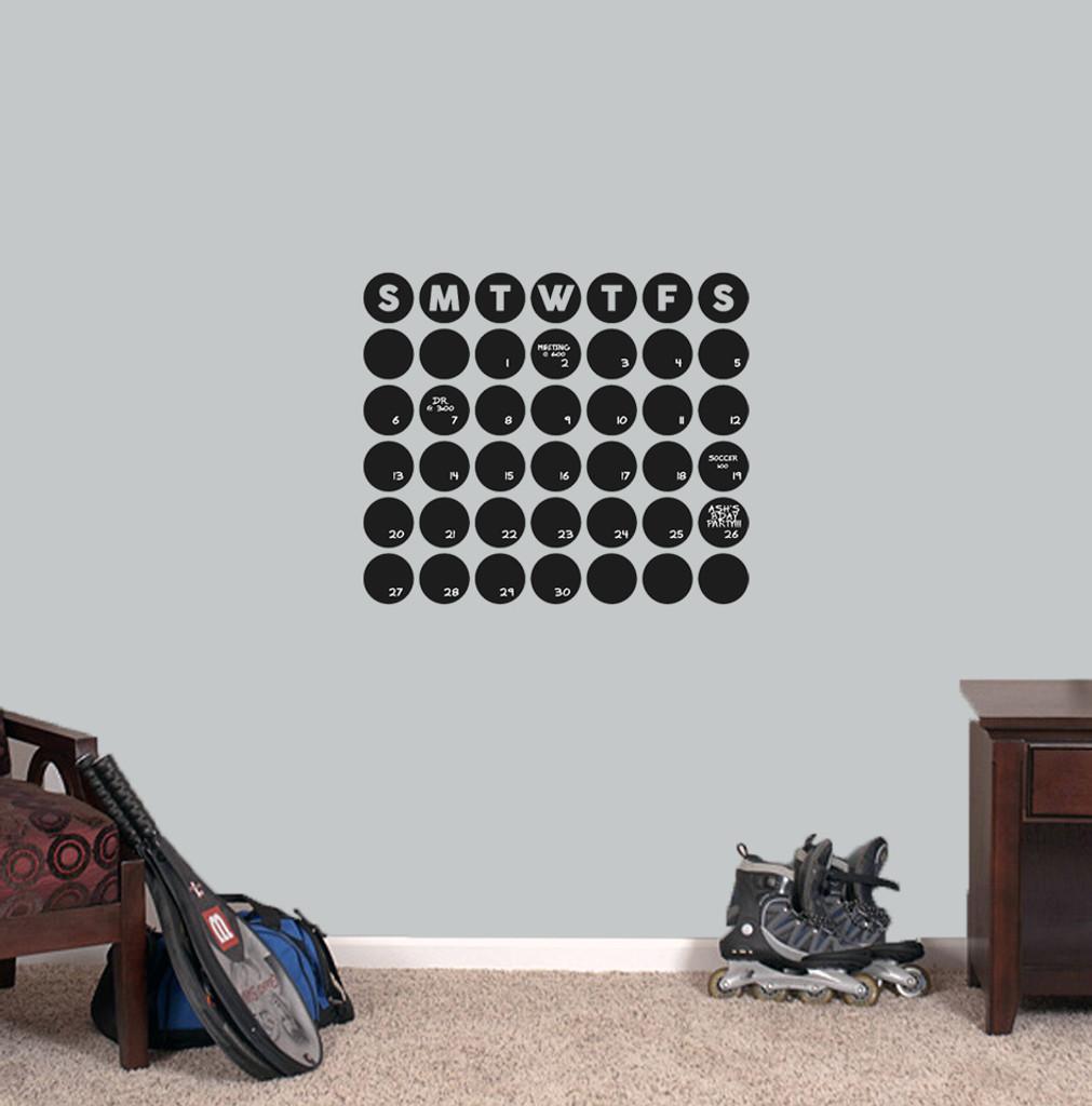 "Chalkboard Circle Calendar Wall Decals 20"" wide x 17"" tall Sample Image"