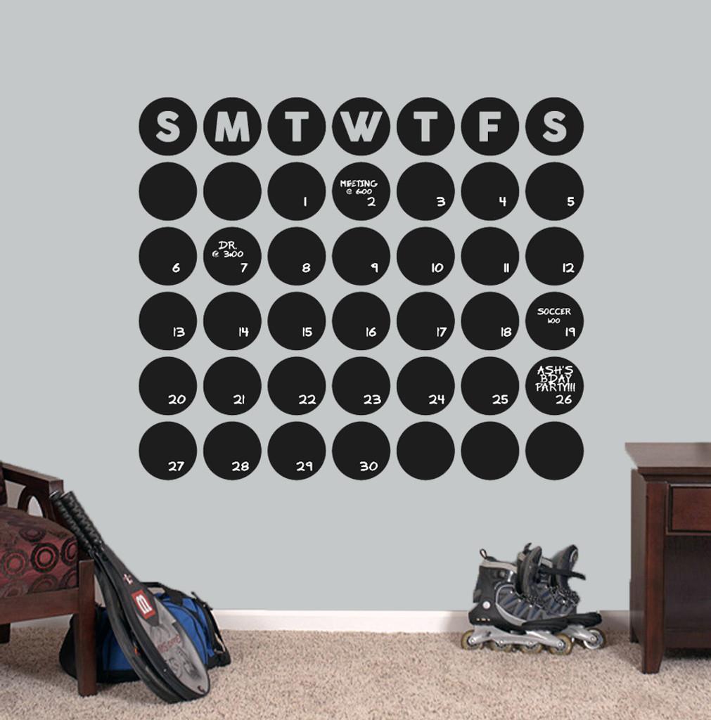 "Chalkboard Circle Calendar Wall Decals 36"" wide x 31"" tall Sample Image"