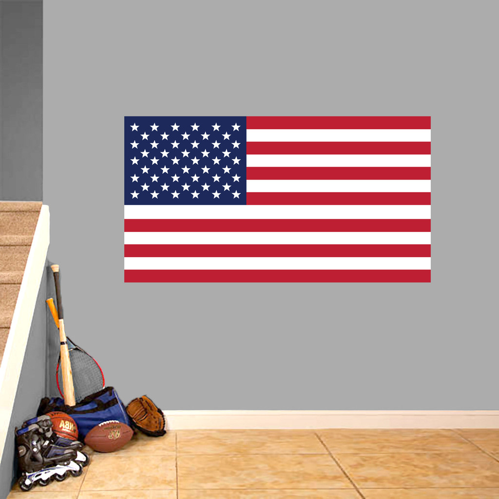 """American Flag Printed Wall Decal 48"""" wide x 26"""" tall Sample Image"""