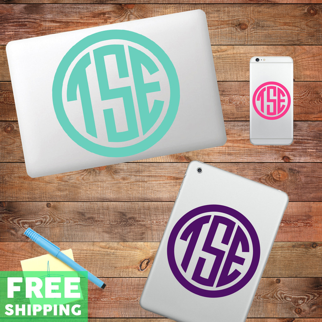 Custom Circle Monogram Device Decals Water Bottle Sticker