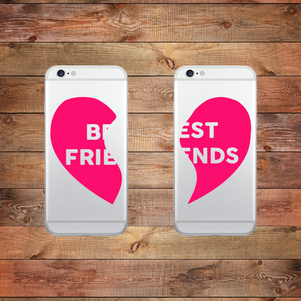 Best Friends Heart Device Decals Water Bottle Stickers