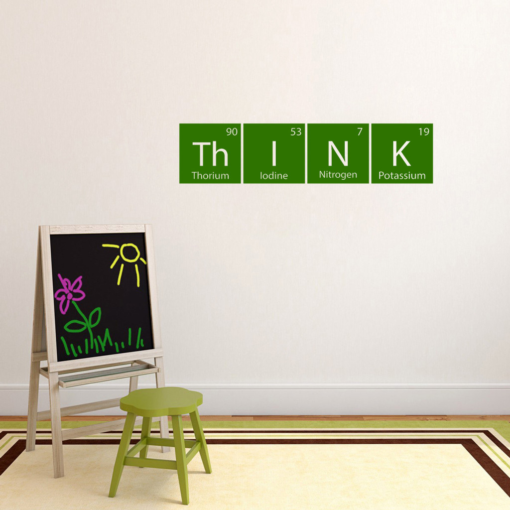 """Think Periodic Table Wall Decal 36"""" wide x 8.5"""" tall Sample Image"""